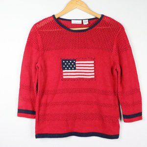 Croft & Barrow 3/4 Sleeve American Flag Sweater